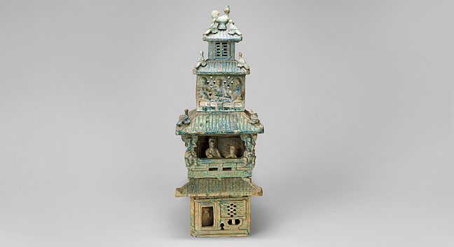 Four-storied Pavilion in Green Glaze